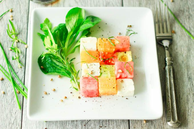 """Summer Salad Squares by simplehealthykitchen: Try subbing cheddar cheese cubes for the feta, and watch your kiddos """"love"""" their fruits and veggies squares. #Salad #Watermelon #Avocado #Cucumber #Tomato #Feta #Kid_Friendly"""