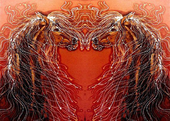 Horse - Autumn Sundance - batik art fabric  -  Custom printed from original batik  - applique quilt panel