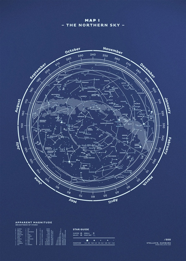 Silkscreen Print! Map No. I – The Northern Sky by stellavie design manufaktur
