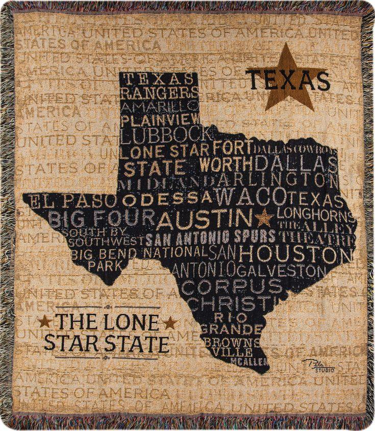 USA Texas Tapestry Cotton Throw