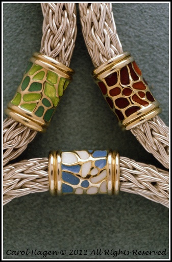 Fan Coral bracelets - Champlevé enamel on 18K tube connection - detail by C.Hagen Studio, via Flickr