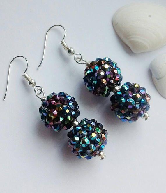 Black Bead Earrings Black Drop Earrings Bead Earrings Drop