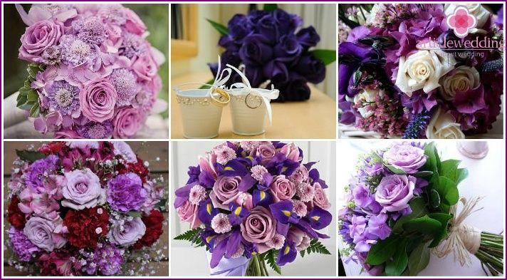 Fialové svadobné kytice - ako si vybrať farby, možnosti formulácie, fotografie