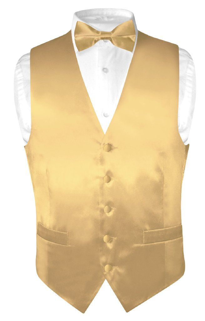 New BIAGIO Collection Brand SILK Dress Vest and BowTie with matching Handkerchief Set. Men's Solid GOLD Color Silk Dress Vest with Bow Tie and Pocket Square Handkerchief Hanky Same Color Made From The