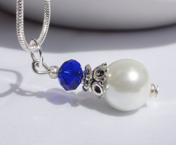 Pearl Necklaces Something Blue Bridesmaid by StunningGemsJewelry