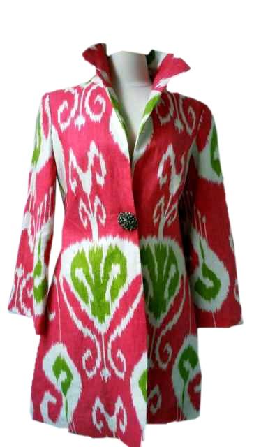 Haines Ikat Coat in Watermelon Sunshine