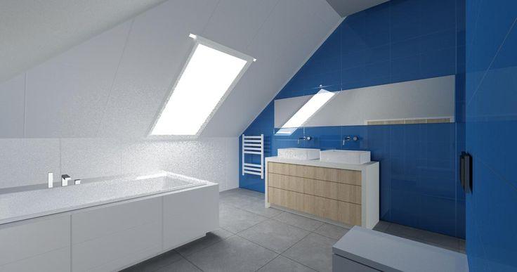 Niebieska łazienka na poddaszu