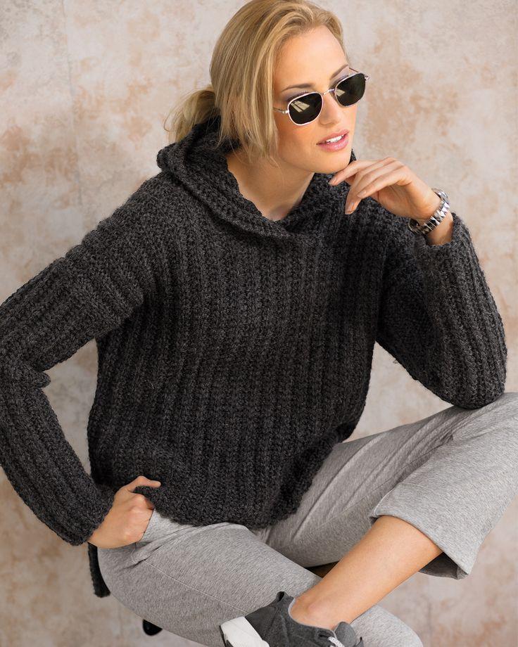 Антрацитовый пуловер с капюшоном