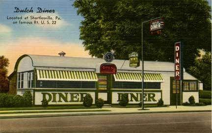 Shartlesville PA Dutch Diner Clock Postcard Print