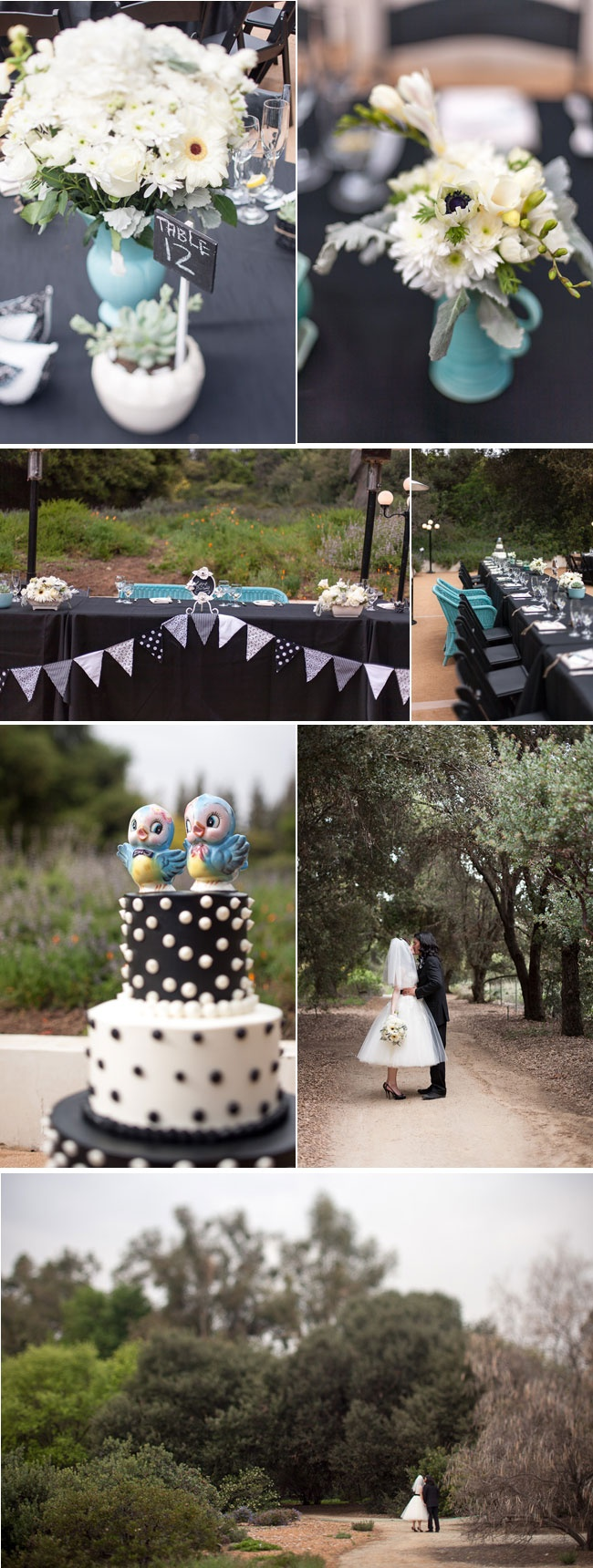 The black tablecloths bring an edge to the theme and stop the vintage from looking [potentially] too girly