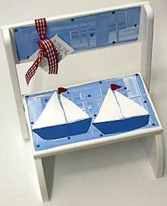 Personalized Step Stool ~ Sailboat ~ A hand painted wooden step stool/chair that is perfect for little ones to stand on to wash hands, brush teeth, etc; personalized with first name to make a unique, treasured baby gift.  $58.95 from ivyrosegifts.com
