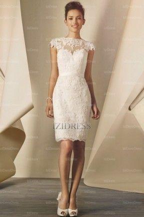 Sheath/Column Scoop Short/mini Chiffon wedding dress - IZIDRESSES.com at IZIDRESSES.com