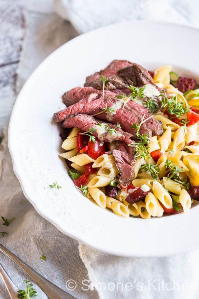 pasta salade met biefstuk   simoneskitchen.nl