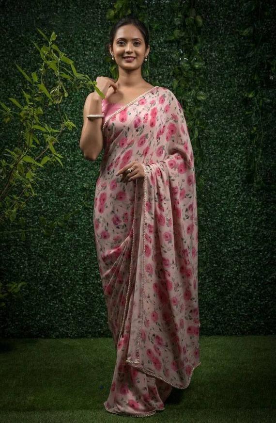 Heavy Devsena Soft Silk Saree and blouse for women.saree,saree for women,silk saree,wedding saree,indian saree,sari,saris pink saree
