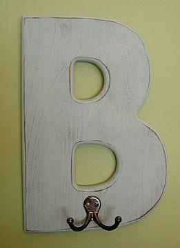 monogram wall hooks for bathroom or kids' bedroom