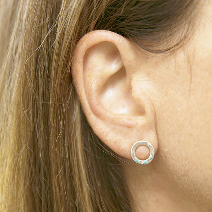 Circle Studs with Turquoise