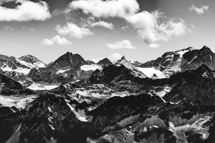 Mountains of the German Alps - Shooted at the top of Zugspitze, the tallest mountain in Germany, the alps mountains looked smaller than really are.