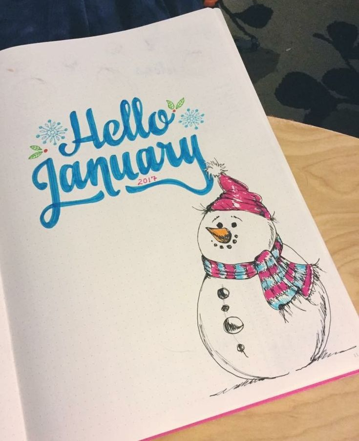 Hello January, Welcome Page Idea For The Snowy Cold Months In Your Bullet  Journal