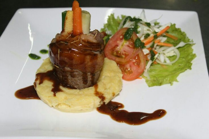 Sirloin Beef Rolled IDR 139.000,  Pan fried beef rolled served with marshed potato and simply of salad, only @ Hotel Grand Zuri Dumai Come Try guys