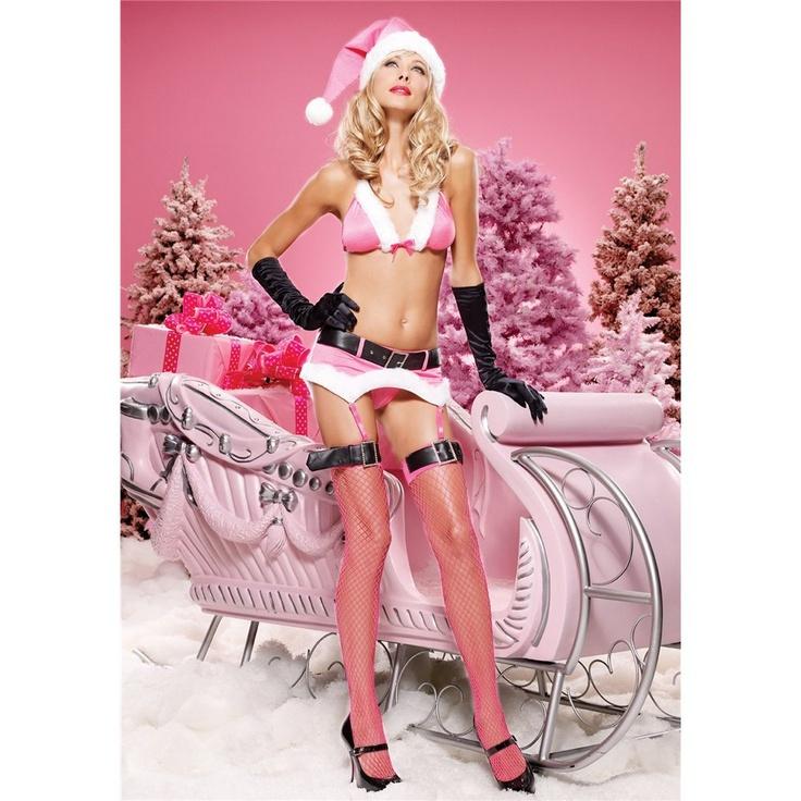 5Pc Miss Nutcracker With Bra, Garter Belt With Belt,G-String, Hat, Stockings