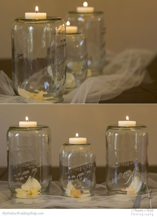375 best images about mason jar wedding on pinterest for Mason jar wedding centerpiece ideas