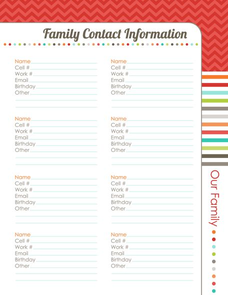 20 best ideas about Family Planner – Contact Info Template