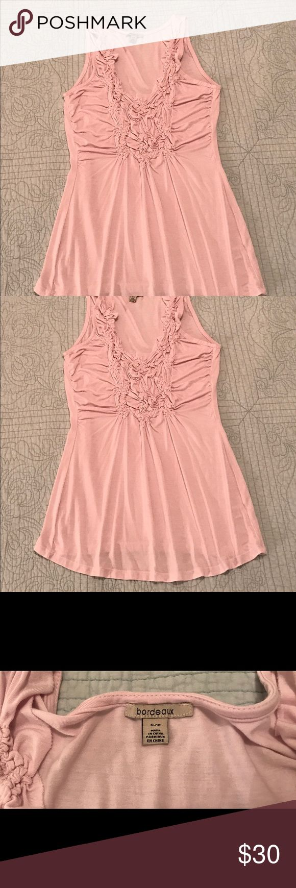 {Anthropologie} Bordeaux, EUC, Light-Pink Top Excellent, Pre-Owned Condition; No Signs of Wear  Beautiful, Light-Pink Sleeveless, Flowy Top; Pretty, Shirring & Ruching Makes it Flattering; V-Neck; Soft & Plenty of Stretch   Ladies Size Small Brand is Bordeaux for {Anthropologie}  95% Rayon, 5% Spandex Hand-Wash, Cold; Lay Flat to Dry Can be Dry-Cleaned Made in China  **BUNDLE & SAVE!!! **DOG-FRIENDLY HOME Anthropologie Tops Blouses