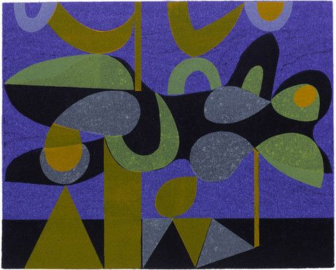 Dream Landscape 12/12 Woodcut and stencil print by Peter Green UK