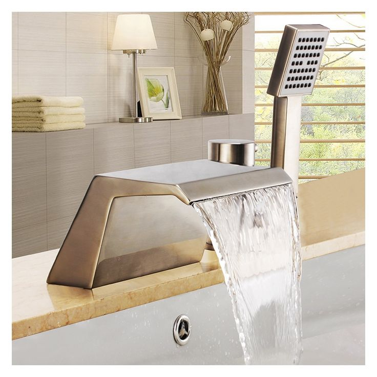 Buy Modern Nickel Bathtub Faucet with Hand Shower 3 Holes Installation with Lowest Price and Top Service!