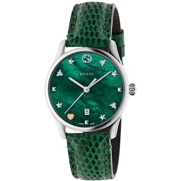 Gucci Women's Swiss G-Timeless Green Leather Strap Watch 36mm (74.590 RUB) ❤ liked on Polyvore featuring jewelry, watches, green, green jewelry, gucci wrist watch, gucci, green jewellery and green watches