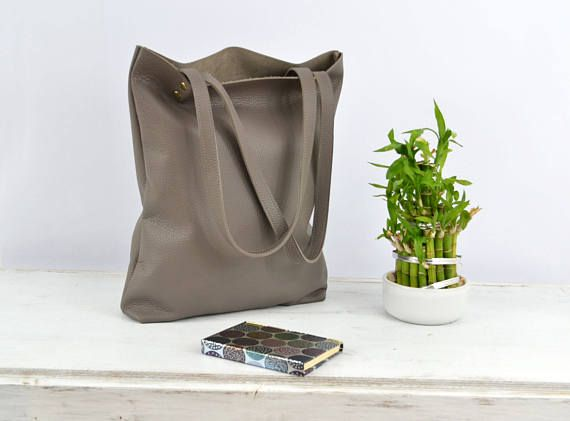 Everyday LEATHER TOTE Bag Ash Grey Tote Dark Grey Leather