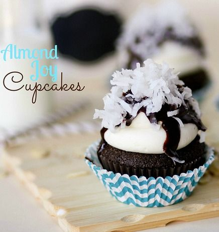 Almond Joy Cupcakes - chocolate cake, almond frosting with coconut.  SO good!