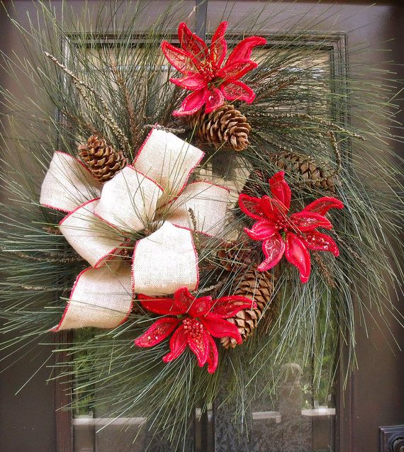 XL Wispy Christmas Wreath Burlap Christmas Decor by LuxeWreaths, $169.00
