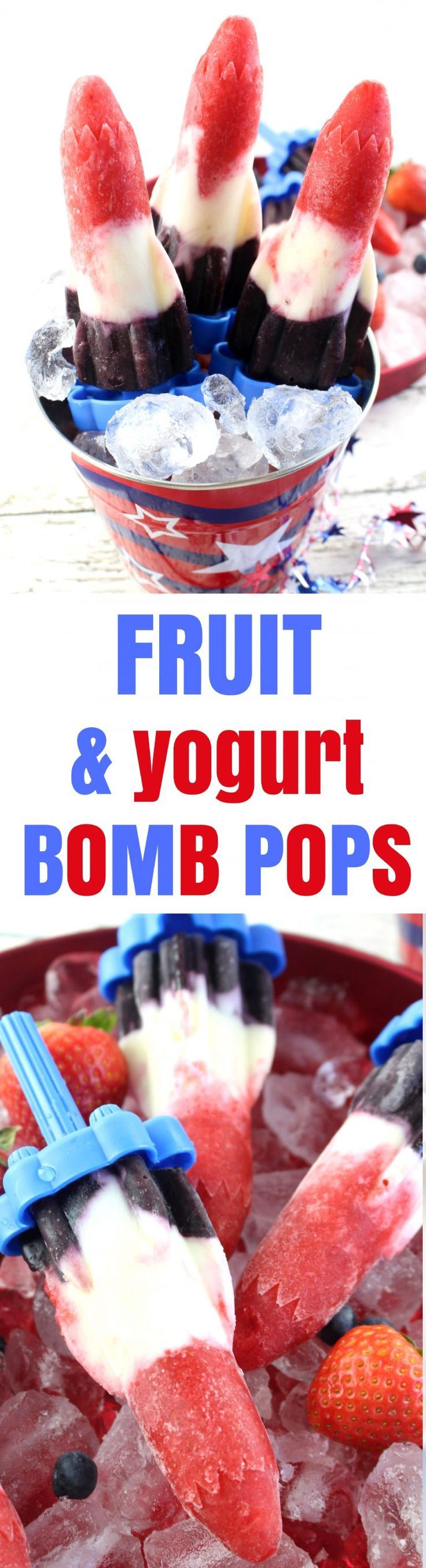 July 4th Red, White & Blue Fruit and Yogurt Bomb Pops Recipe Let's cool off this summer by starting off with these delicious red, white, and blue Patriotic Fruit and Yogurt Bomb Pops that are just perfect for a July 4th popsicle recipe, too! Filled with f