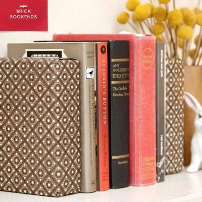 Fabric Covered Brick Bookends trash to treasure home-decor