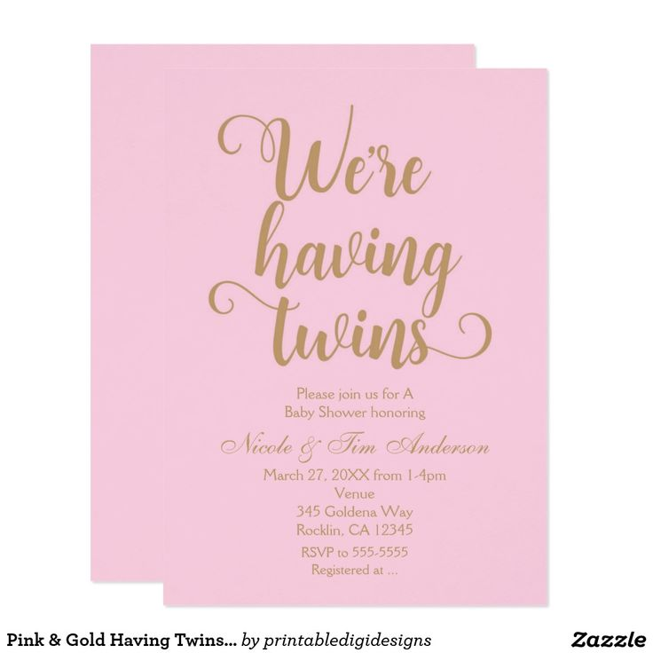 baby shower invitation for twins%0A Pink  u     Gold Having Twins Baby Shower Invitations