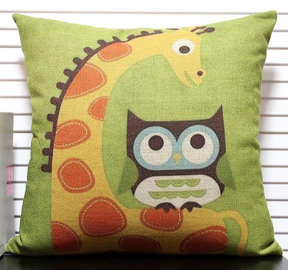 45x45cm Decorative Pillow Case, Cotton Linen Owl with Giraffe Cushion Cover, Eco-friendly Creative Bedding Pillow Case  US $11.99