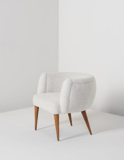 Jean Royère; Oak and Sheepskin 'Boule' Chair, c1950.