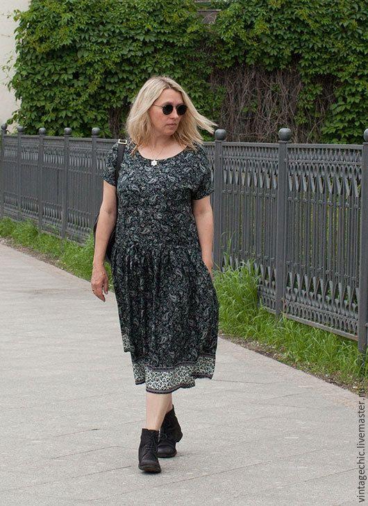 Купить Платье с каймой и огурцами art.109b - темно-серый, пейсли, платье, платье…