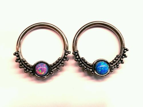 SEPTUM-Clicker-Ring-Retainer-Spacer-Hoop-16g-14g-316L-SIMULATED-FIRE-OPAL