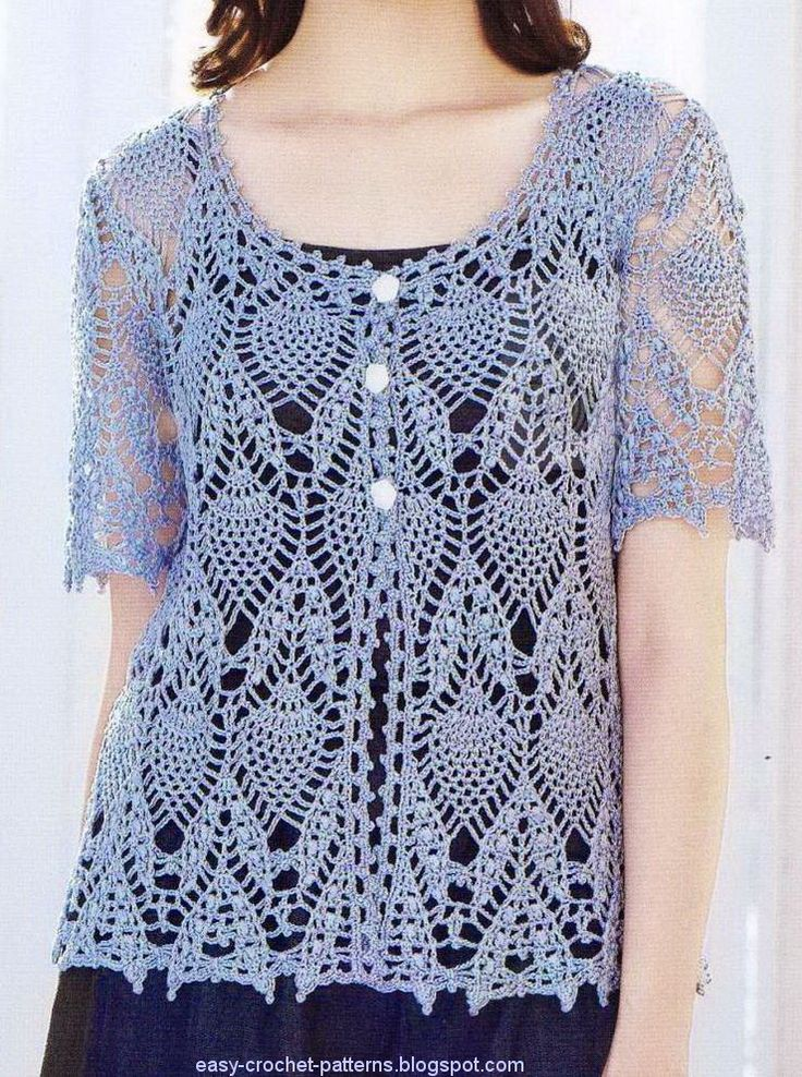 Crochet Sweater Lace Cardigan blue Click on the 'More...' link