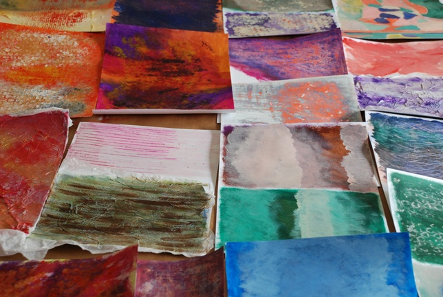 inspired by these colors and textures, the unassuming nature of the papers next to each other, being the way they are.