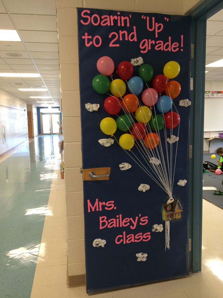 "Hollywood classroom theme...used the movie ""Up"" for my door decoration to welcome students. Reads: ""Soarin' ""Up"" to 2nd grade!"""