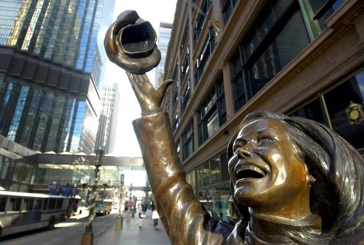 A statue of Mary Tyler Moore, in front of the department store on the Nicollet Mall references a scene from the opening montage of the TV show.
