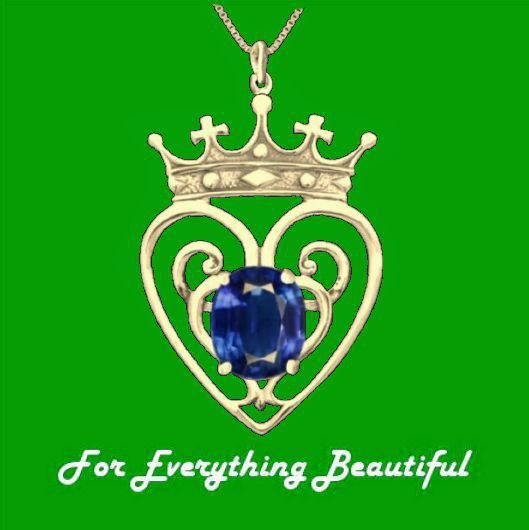 Queen Mary Design Sapphire Luckenbooth Large 10K Yellow Gold Pendant