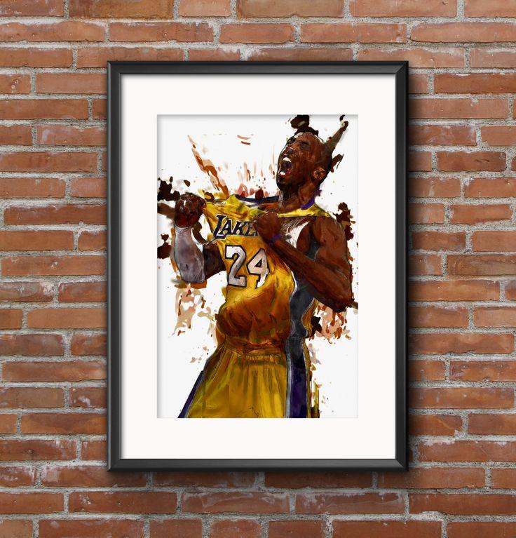 KOBE! Kobe Bryant Lakers Print/Artwork – Basketball Artwork – LA Lakers – fan art – lakers print – artwork painting – boyfriend gift by AshleyEdwardsD…