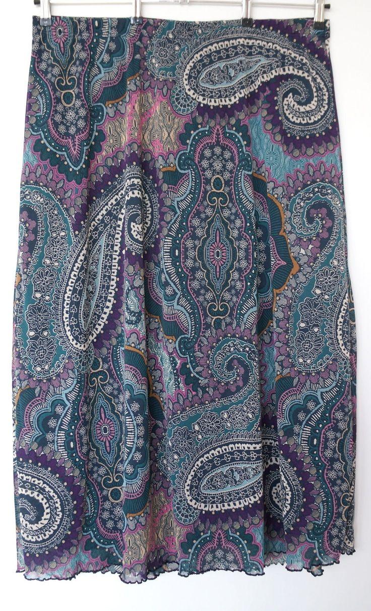 Plus Size Ladies Maxi Mesh Skirt With Paisleyprint Great Farbkombinati 52,54