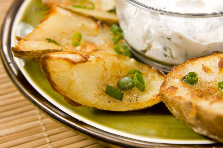 Garlic Potato Skins with Onion and Spinach Dip by h.h. gregg