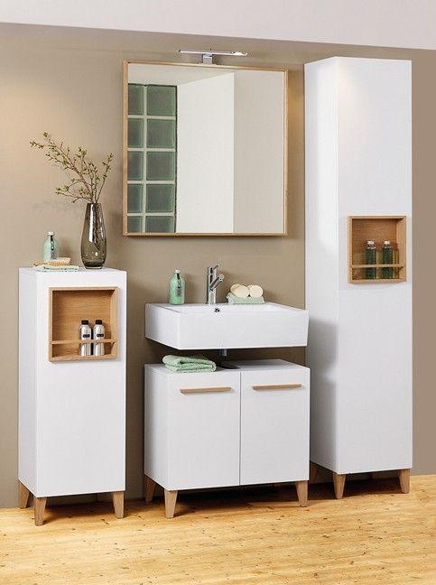 weiße Badezimmermöbel cassetta | Dieses stylische Ensamble hilft dir dabei, morgens frisch in den Tag zu starten. #bathroom #white #MoebelLETZ