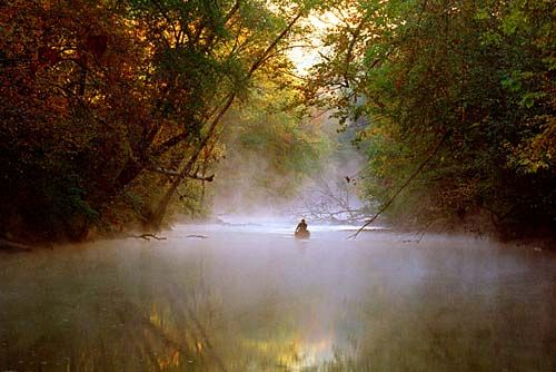 An Early Morning Canoe Trip Down The Majestic Cahaba River In Alabama.